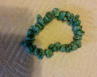 Blue green turquoise nugget bracelet