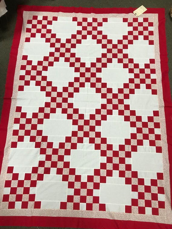 Beautifully Made Vintage Red and White Irish Chain Quilt Top