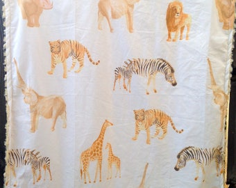 African Animals minky baby blanket - baby cuddle blankie - crib or stroller blanket - zebra, giraffe, elephant, lion - 27 by 33 inches