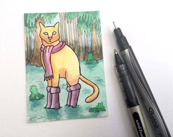 Cat wading water swamp trees forest wall art miniature art ATC Gift Art Trading Card Whimsical Original ART ACEO Watercolor - Katie Hone