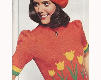 Vintage Knitting Pattern Tulips Sweater Women's Pullover Floral 70s Short Sleeve PDF Instant Digital Download SKU 25-2