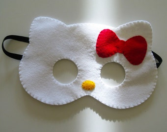 White felt cat mask for kids - handmade kitty party favor - dress up pretend play accessory - Birthday party favor - cute gift for girl