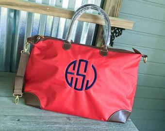 TOTE/Red Nylon Weekender Tote Bag with Dual Handles
