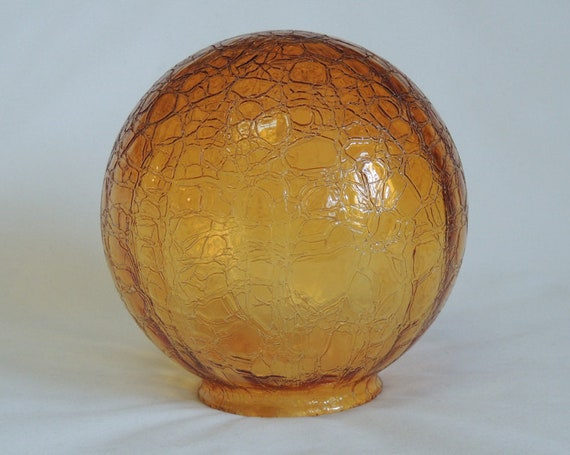 Vintage Mid-Century Retro Amber Crackle Glass Globe Light Shade