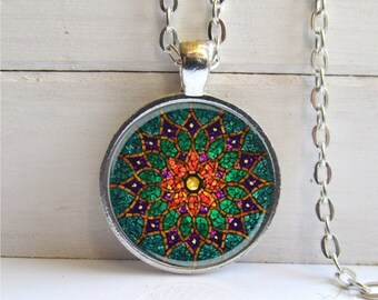 Mandala Pendant, Mandala Necklace, Meditation Jewelry, Green Mandala Necklace