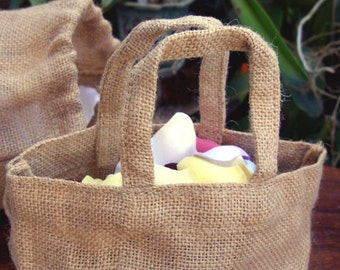 10 burlap Mini Tote Bag - Natural Color - 4-3/4 x 5-1/2 inches