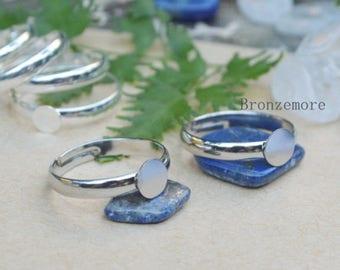 6mm Round Flat Ring Blanks, white K Ring Base