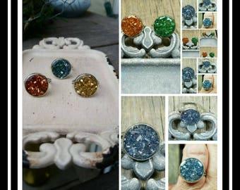 Memorial Ash Cremation Ring/Memorial Ash Stone/Pet Memorial/Grieving Jewelry/100+Colors
