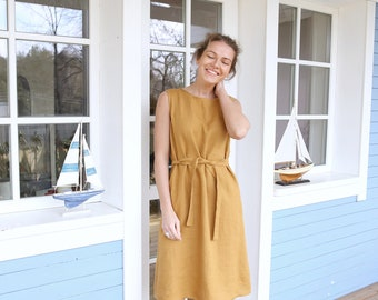 Linen Dress / Minimal Dress / Summer Tunic / Date Dress / Loose fit / Dress with Pockets / Dress with Belt / Classic Linen Dress