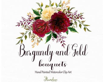 Burgundy and Gold watercolor clipart, burgundy flower clipart bouquets, marsala, gold, rose, wine, bordo, bordeaux, gold peony, yellow