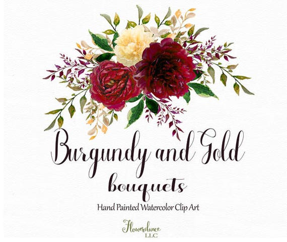 Burgundy And Gold Watercolor Clipart Burgundy Flower Clipart