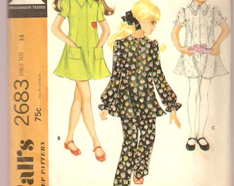 VINTAGE McCall's Sewing Pattern - Children's Clothes - Girl's Dress, Top & Pants, Size 14