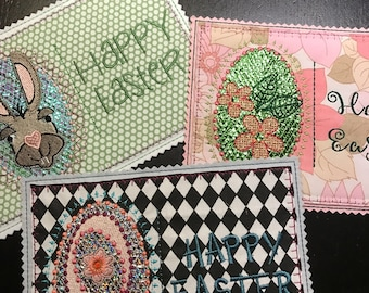 "Kitschy, Humorous, Glittery Cards, Machine Embroidery Design ITH, A Personal Easter Greeting for a loved one, 5x7"" hoop, 3 variations"