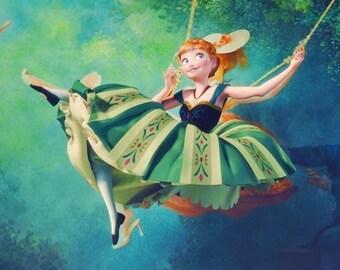 Anna Elza Frozen Cosplay Dress Costume Princess Disney Russia