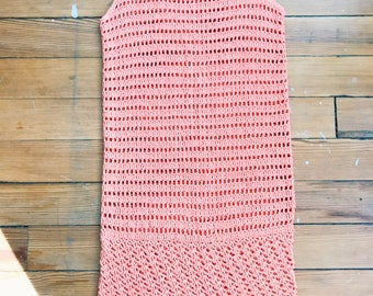 1970's Crochet Shift Dress Coral Pink Size XS, Small