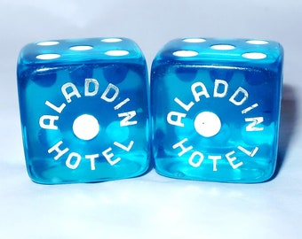 "2 Blue ALADDIN HOTEL CASINo DICE Set Vintage Pair 11/16"" Gaming Die Brilliant Clear Blue Silver Lettering One Spot Unique Gamer Lover Gift"