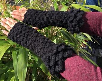 hand made,crochet fingerless women gloves,festival,winter,warm,mittens,wrist warmers, extra long,crocodile stich,dragon scale,mermaid,black.