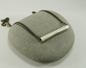 Simple Sterling Bar Necklace with Fine Brass Chain - N1060