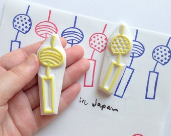 wind chime rubber stamp | japanese glass wind chime stamp | polka dot | borders | summer card making | hand carved by talktothesun