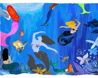 Mermaids under the moonlit sea picnic or throw blanket from my original art