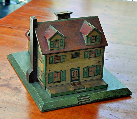 Vintage 1930s WOOD HOUSE BANK, 2 Stories,  Hand Made and Painted in New England Primitive Folk Art, Excellent Vintage Condition.