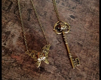 Steampunk necklace key butterfly gothic victorian vintage precious pendant statement