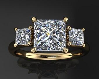 eden ring - French cut moissanite engagement ring, 3 stone ZAYA moissanite anniversary band