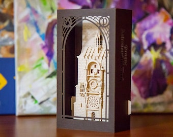 Pop up card 3d cards paper models architecture Prague Astronomical clock, Prague Orloj, Pražský orloj, amazing paper miniature architecture