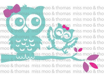 Two Girl Owls Decal Owl Vinyl Wall Decal Car Decal Laptop Decal