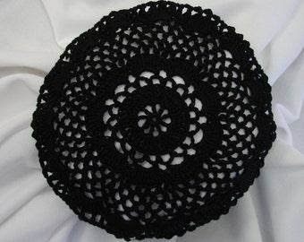 Black Hair Net / Bun Cover Sz Large Crocheted Flower Style Amish Mennonite