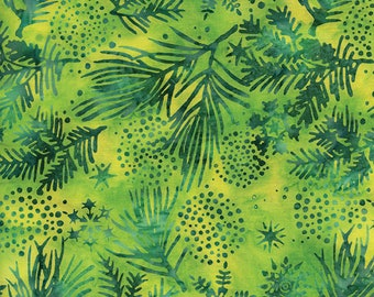 Lemon Lime Merry and Bright Batik Quilt Fabric 100 Percent Cotton, by Island Batik Fabric by the Yard Green Quilting Fabric