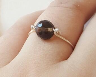 Handmade ring, black quarts, Smokey quarts rings, wire ring