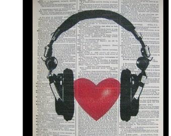 Love Music,Headphones with Heart- Music Decor, Mixed Media art print on 8x10.5 Vintage Dictionary page, Dictionary art, Dictionary print