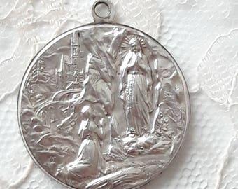 LOURDES Antique French Medal - Large Size