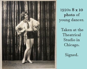1920s 8 x 10 Photo of Dancer - Theatrical Studio Chicago flapper girl jazz age art deco performer thick linen paper black and white photo