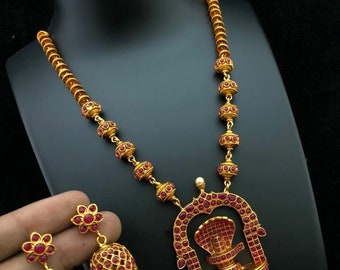 Lingam Necklace, Kemp Necklace W Earrings, South Indian Jewelry,Bridal Jewelry,BollywoodJewelry, Statement Necklace, Polki, Temple Jewelry