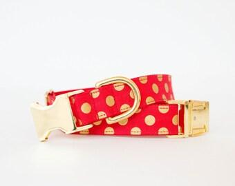 Red & Gold Polka Dot Christmas Dog Collar