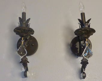 Vintage Pair of Sconce - Bronze and Crystal Sconces, Hollywood Regency
