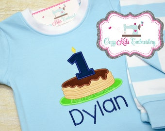 Birthday pajamas, Pancake pajamas, Boy pajamas, Boy Birthday pajamas, boy pj, spring pj, pancake appliqué, pancake embroidery