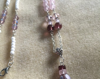 Pink and Purple Glass and Stars Necklace