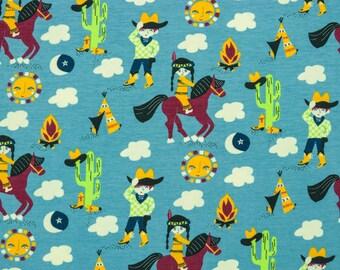 Cotton Jersey joy cowboy and Indians lichtblau (11,90 EUR / meter)