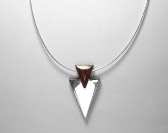Perfect Gift PENDANT GEOMETRIC ARCHITECTURE Collection/Wooden Handmade Jewelry by Rosewood or Ebony Wood and Silver925