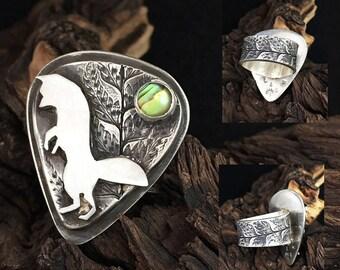 Hunting by Night Statement Ring sterling silver custom handmade Fox &  Fern ring SRA  Fox Size 7.75