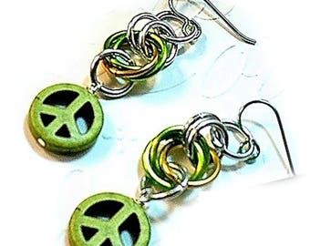 Lime Green Peace Sign Earrings, Green Earrings, Niobium Ear Wires, Green Lightweight Chainmaille Earrings - E2017-11