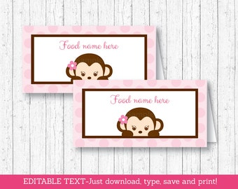 Pink Monkey Buffet Cards / Monkey Food Labels / Monkey Place Cards / Monkey Baby Shower / Pink Monkey / INSTANT DOWNLOAD Editable PDF A421