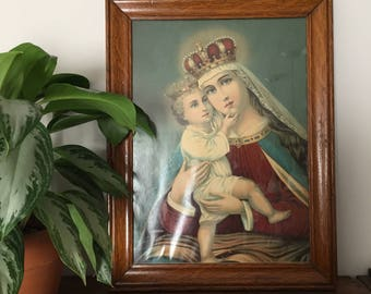 Vintage Virgin Mary Madonna and Child Framed Religious Iconography Print