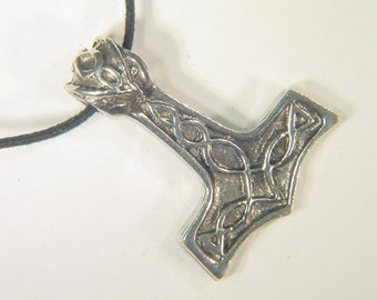 Thor's Hammer Necklace Pewter  Pendant Viking Mjollnir Norse Odin 1675A