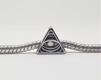 Silver Pyramid Eye Charm for European Bracelets (item 213)