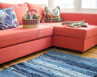 River Rocks; upcycled Pendelton wool rug