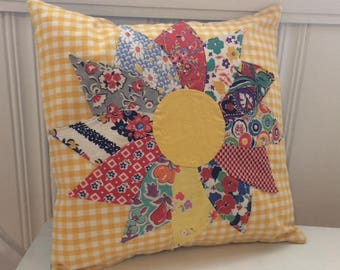 """Cottage Chic Quilted Sunflower Pillow Cover (14""""x14"""")"""